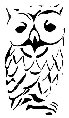 Owl black and white illustration