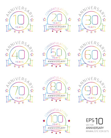 Collection of color minimalistic anniversary icon set, isolated on white vector illustration illustration