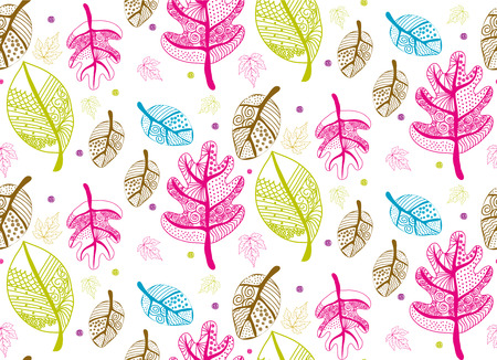Seamless color pattern with leaves, vector  photo