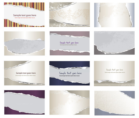 Collection of torn papers on white background, vector photo