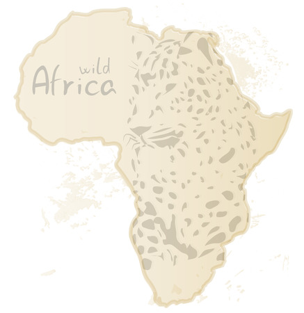 Africa map with silhouette of leopard, vector illustration Vector