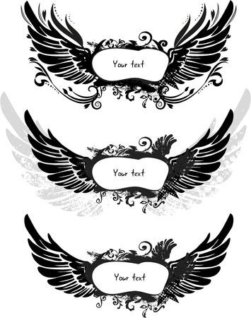 grunge wings: Set di ali grunge isolato su bianco, vettore Vettoriali
