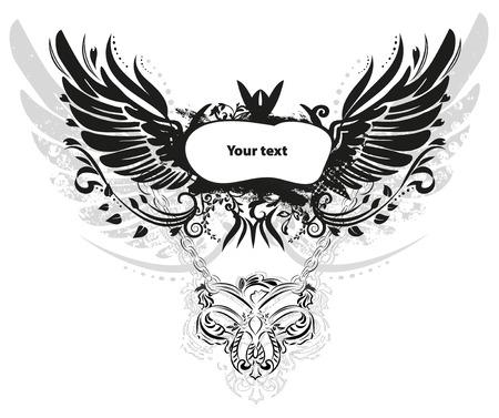 grunge wings: Ali grunge isolato su bianco, vettore Vettoriali
