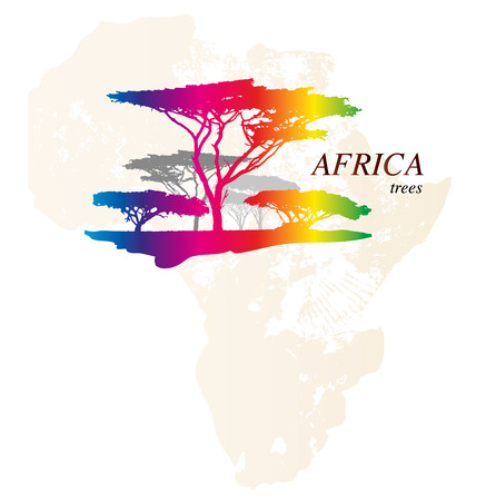 Colorful africa map with trees, vector illustration Vector