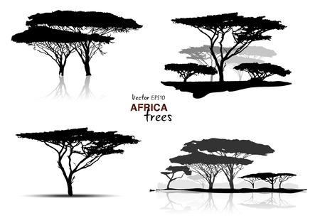 boom: Silhouet van afrika bomen zwart op witte achtergrond, vector illustratie Stock Illustratie
