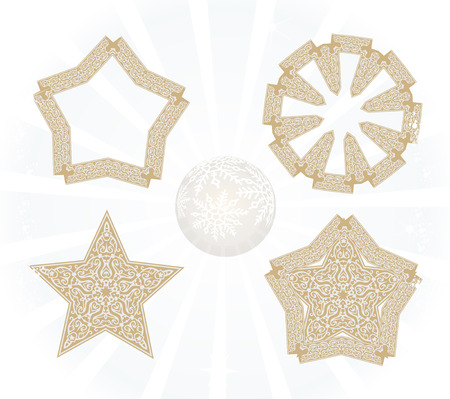 xmax: Set of nice christmas stars, isolated on white, illustration