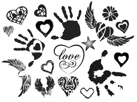 Symbols - hearts, wings, hands, isolated on white background, grunge, vector