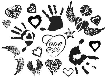 engel tattoo: Symbole - herzen, fl�gel, H�nde, isoliert auf wei�em Hintergrund, Grunge, Vektor-