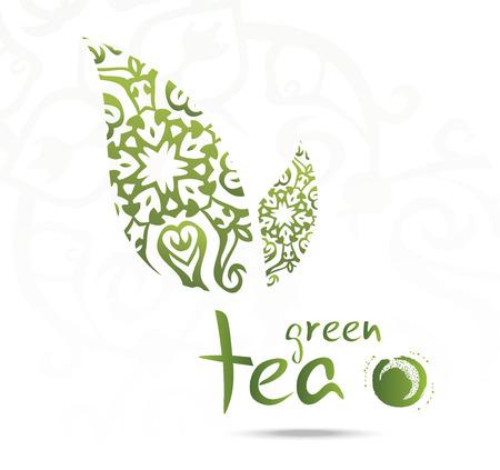 Green tea with leaf,s vector illustration Иллюстрация
