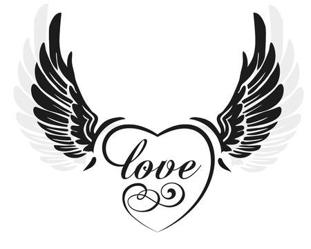 tatouage ange: Ailes noires avec le coeur et le signe d'amour, illustration isolé sur blanc