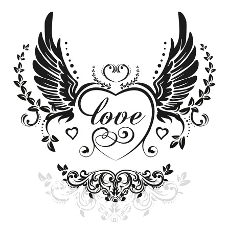 tatouage ange: Ailes noires avec c?ur décoratif et feuilles, illustration isolé sur blanc