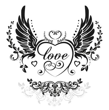 engel tattoo: Schwarze Flügel mit dekorativen Herzen und Blätter, Illustration isoliert auf weißem