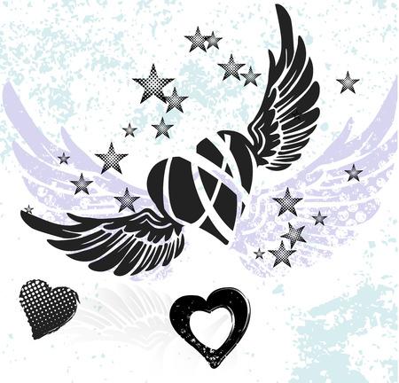 tatouage ange: Coeurs, ailes et les étoiles sur fond blanc Illustration