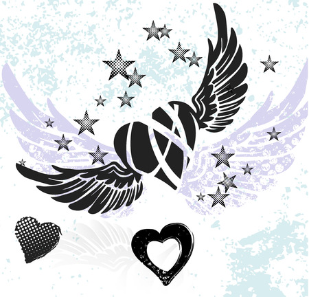Hearts, wings and stars on white background Ilustração