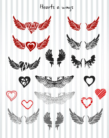 wing: Collection od Hearts and wings, vector Illustration