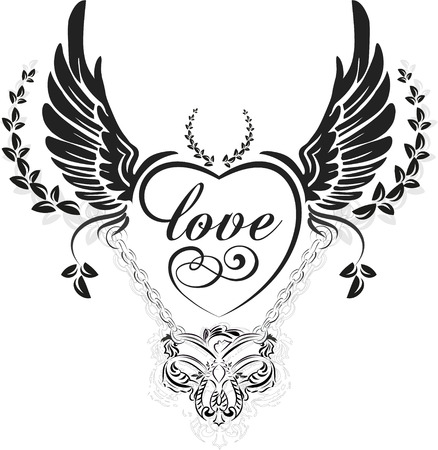 dessin coeur: Ailes noires avec c?ur d�coratif et feuilles, illustration isol� sur blanc