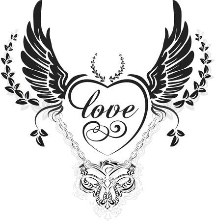 corazon con alas: Alas negras con coraz�n decorativo y hojas, ilustraci�n aislados en blanco