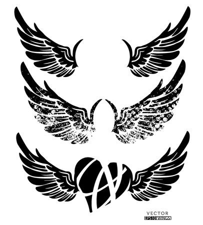 tatouage ange: Collection d'ailes, coeur, isol� sur blanc, vecteur Illustration