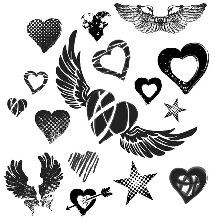 Hearts, wings and stars on white background, grunge, vector Illustration