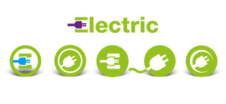 Set of electric green icons with shadow, isolated on white, illustration Illustration