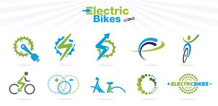 Het verzamelen van kleur elektrische fietsen pictogrammen, geïsoleerd, vector illustratie