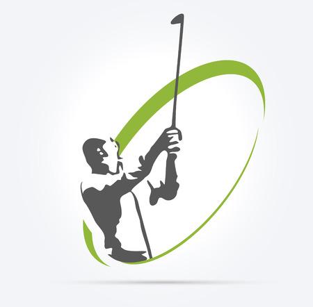 여자 골프 실루엣, 흰색 배경에 그림