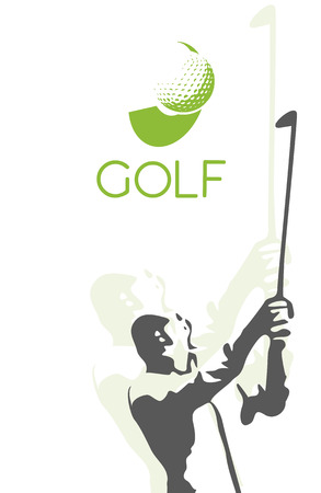 woman golf: Woman golf silhouette, illustration on white background