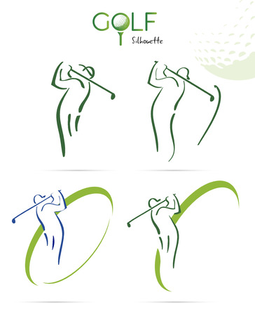 swing: Green golf silhouette icons, illustration isolated on white background Illustration