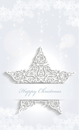 3D Christmas decoration ornamental star with snowflakes on light background Vector