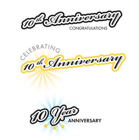 10th: 10th Anniversary sign collection, retro design, vector illustration Illustration