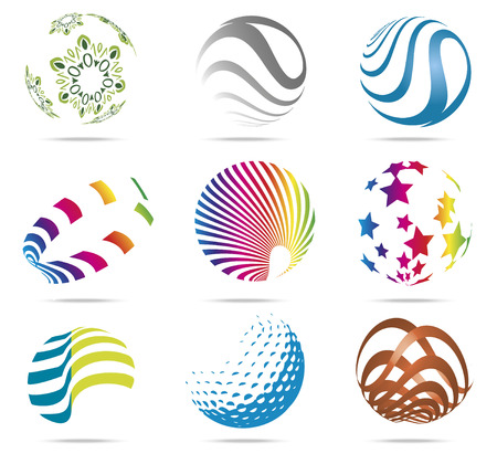 color balls: 3D abstract color balls with shadows, vector illustration Illustration
