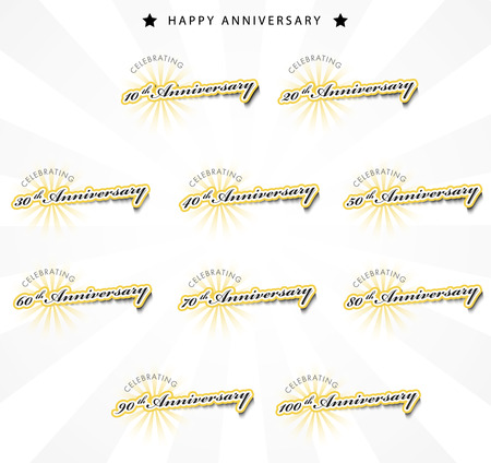 50 60 years: Color anniversary sign collection, retro design, vector