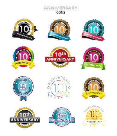 10th anniversary icons set, isolated on white, vector illustration
