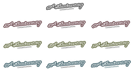 10th: 10th anniversary icons set, isolated on white, vector illustration