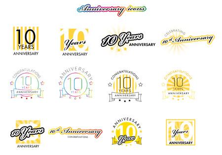 10th Anniversary teken collectie, geel ontwerp, vector illustratie Stock Illustratie