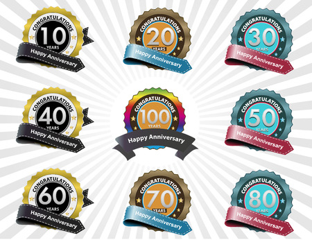 50 to 60 years: Color anniversary sign collection, retro design, vector
