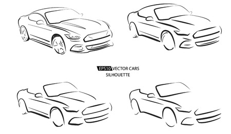 Silhouette of sport car, vector illustration on white  イラスト・ベクター素材