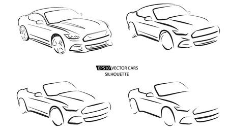 Silhouette of sport car, vector illustration on white Illustration