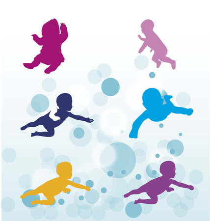 wet girl: Sillhouette of swimming toddlers, bubble water, vector illustration