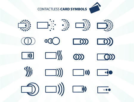 contactless: Set of contactless card icons isolated on white, vector illustration