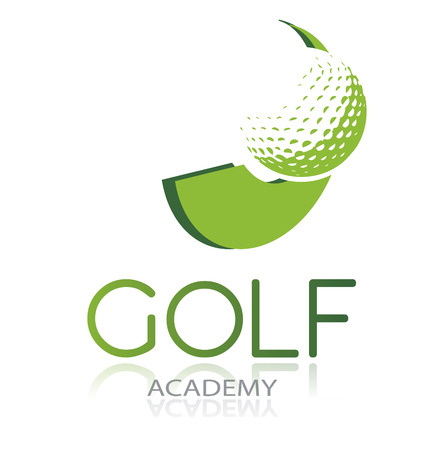 isolated: Golf icon with green ball and dynamic shape, isolated, vector illustration