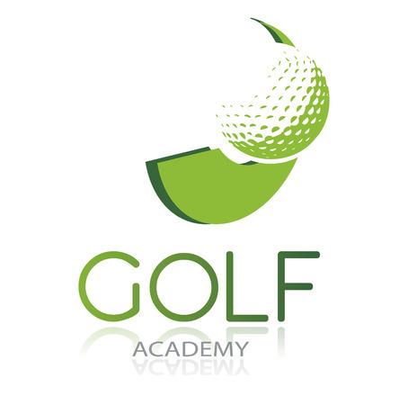 Golf pictogram met groene bal en dynamische vorm, geïsoleerd, vector illustratie