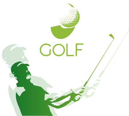 golfer: Green golf icons silhouette isolated on white, vector illustration Illustration