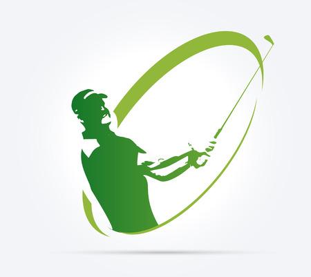 Groene golf pictogrammen silhouet geïsoleerd op wit, vector illustratie Stock Illustratie