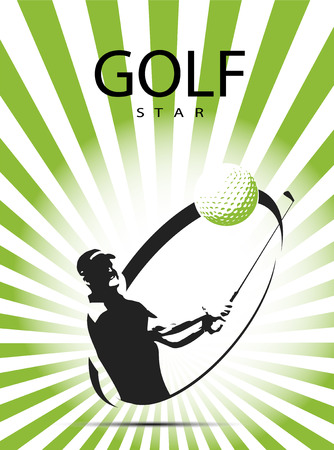 Green golf icons silhouette with green stripes, vector illustration