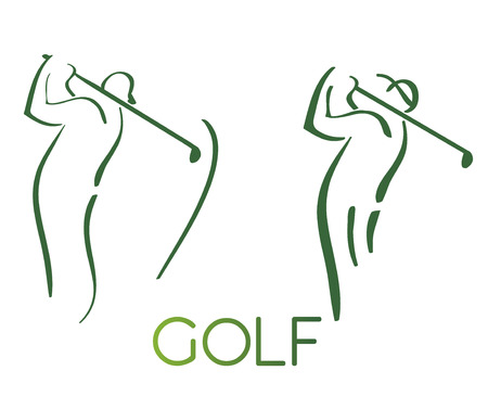 Green golf icons silhouette isolated on white, vector illustration  イラスト・ベクター素材