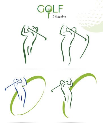 그린 골프 실루엣 아이콘, 그림 흰색 배경에 고립