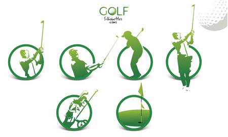 Set of green golf silhouettes icons, illustration isolated on white background Иллюстрация