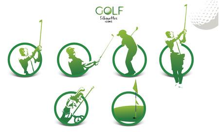 Set of green golf silhouettes icons, illustration isolated on white background Illustration