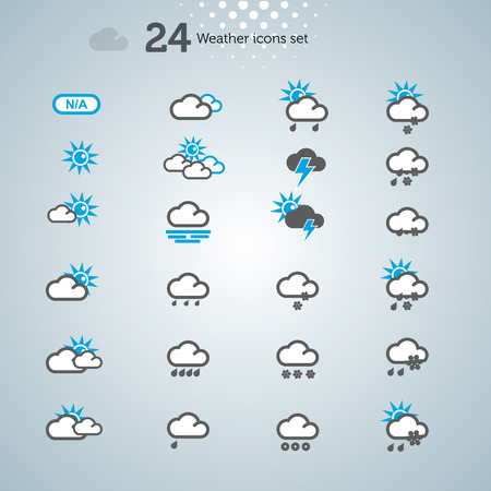 Weather Icons set, vector background,  illustration